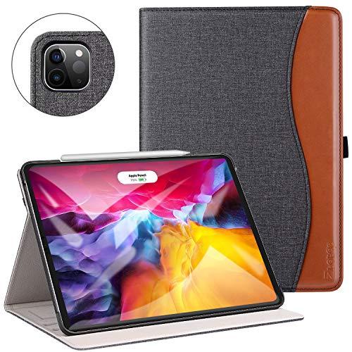 ZtotopCase Funda para iPad Pro 11 2020(2da generación) [Compatible con la Carga de Pencil],Carcasa de Cuero con Bolsillo y Soporte,Función de Auto-Sueño/Estela,Múltiples ángulos,Denim Negro