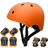 KORIMEFA Casco Infantil Equipo de Protección Patinete con Casco Adjustable certificación CE Rodilleras Coderas para Bicicleta Monopatín y Deportes Extremoscon de 3 a 13 años (m, Naranja)