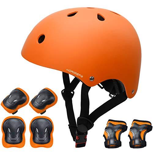 KORIMEFA Set di Casco Protezione Bambini Casco Bici, Ginocchiere, Gomitiere e Protezione Polso per Bambini da 3-13 Anni, Casco per Hoverboard, Scooter, Pattini, BMX e Bicicletta (Arancione, M)