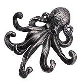 CLISPEED Nautische Wandhaken Retro Octopus Muster Mütze Schals Haken Gusseisen Wandhaken Wanddekorationen für zu Hause Schlafzimmer Silber