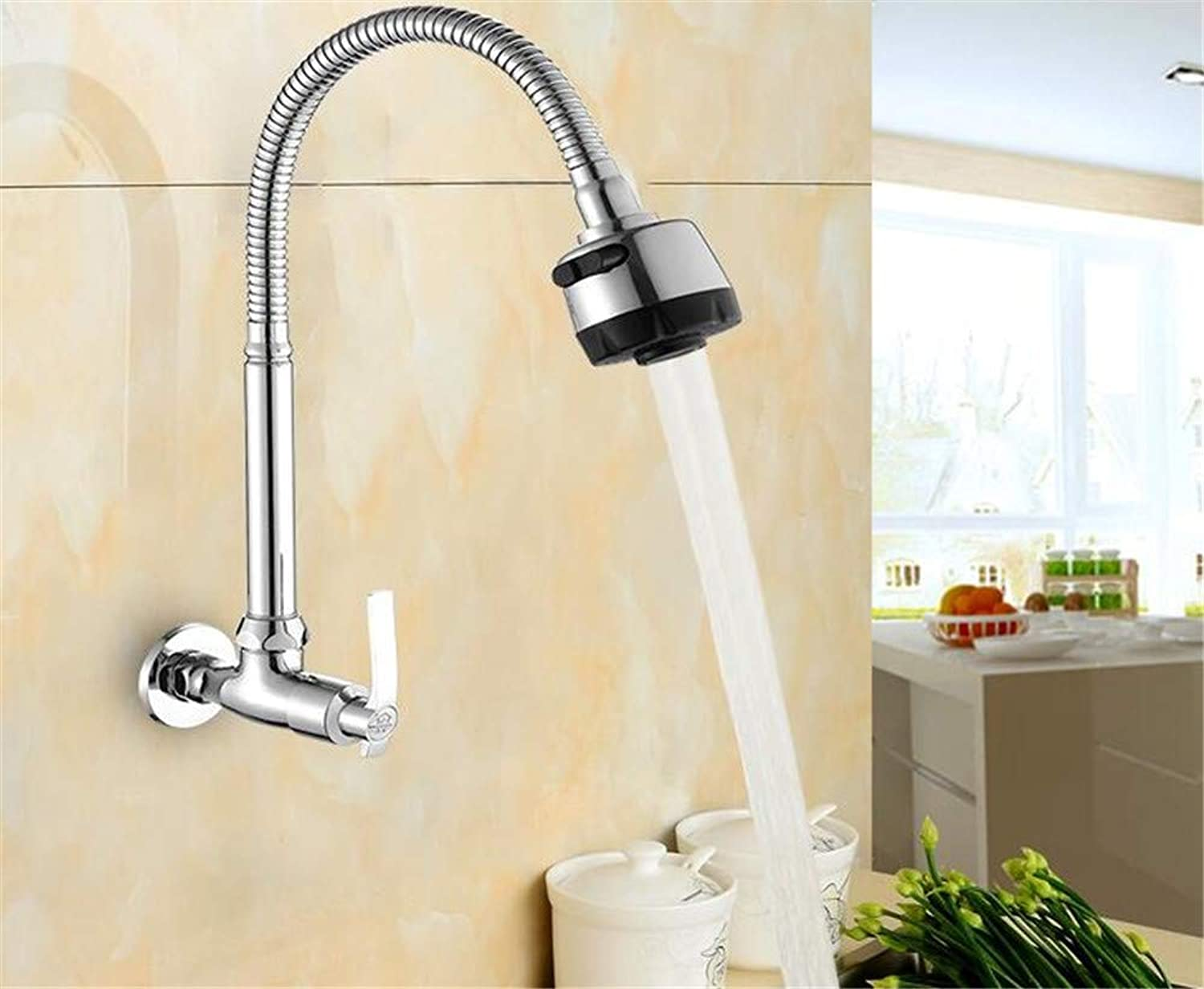 Decorry Brass Wall Mounted Universal Water Kitchen Single Cold Faucet Single Hole Water Tap 360redated Kitchen Faucet with Shower