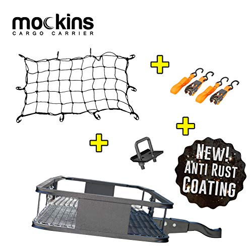 "Mockins Hitch Mount Cargo Carrier | The 60"" X 20' X 6"" Steel Cargo Basket Has A Hauling Weight Capacity of 500 Lbs and A Folding Shank to Preserve Space When Not in Use … … …"