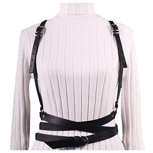 keland Damen Frauen verstellbaren einstellbar Ledergürtel Mode Bondage Körper Persönlichkeit Körperschmuck Nachtclubs (Schwarz)