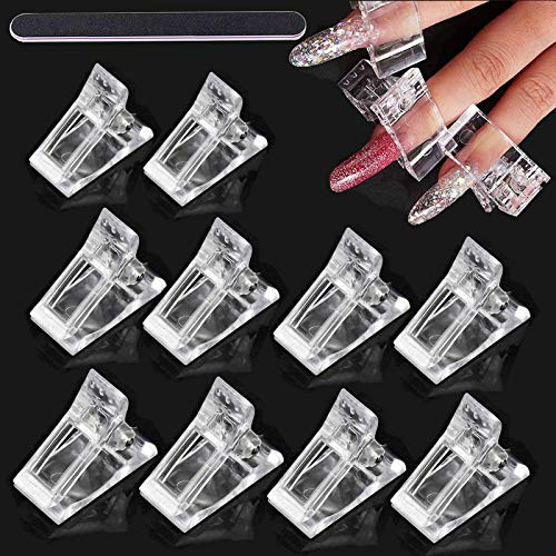 10 Stück Nagelspitzen Clips,Nagelspitzen Finger Clip(+Nagelfeile),Polygel Nagel Klammer,Nail Nagel Clips,Nagelspitzen Clips Polygel,Nagelspitzen Form Clips für Poly Gel Nagelverlängerung