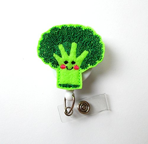 Brenda The Broccoli Spear - ID Felt Badge Holder - Funny Badge Reel - Nurses Badge Holder - Cafeteria Worker Badge - Dietitian Badge - RN - Nutritionist Gift