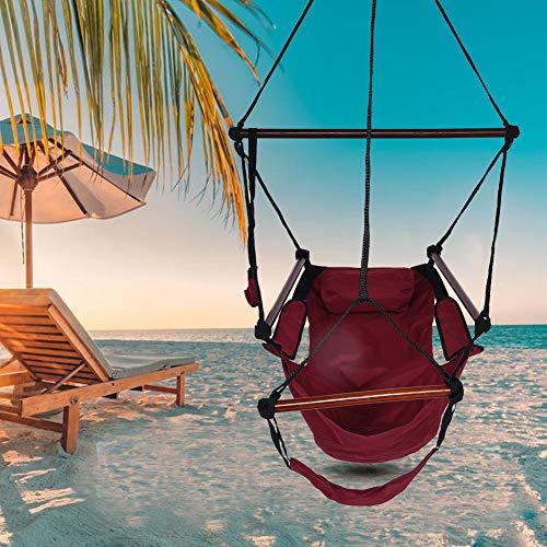 Hängematte mit Sessel, Hängesessel mit Schaukelstuhl, Stoff zum Aufhängen, Gartenstuhl mit Kissen, lustig, Schaukelstuhl für drinnen und draußen, Rot