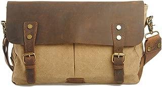 Men's Fashion Shoulder Diagonal Package, Vintage Style Turquoise Colouring Canvas Shoulder Strap Sports Bag with Leather Straps (Color : Khaki, Size : S)