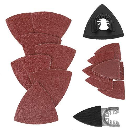 Kits de almohadillas de lijado multiherramienta de papel de lija y triangular 82 piezas Kit de lijado Multiherramienta oscilante Almohadilla de lijado para Bosch Stanley Multim'aster Makita Dremel