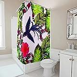 Gamoii Tropische Pflanzen Tiere Schlange Vogel Duschvorhänge Bad Gardinen Einzigartig Hotel Haus Gardinen Wasserdichter Badvorhänge mit Duschvorhangringe White 120x200cm