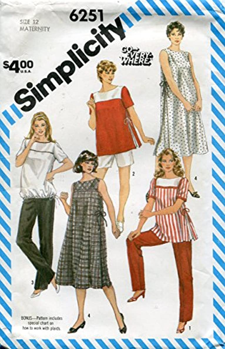 Simplicity Pattern 6251 ~ Maternity Go-Everywhere Pull-on Pants or Shorts, Pullover Dress or Top ~ Size 12