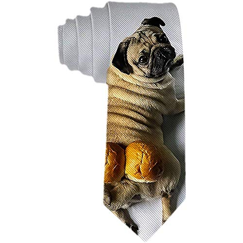 Men 'S Necktie Cute Funny Mops und Brote Polyester Silk Neck Tie