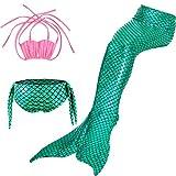 HHD 3Pcs establece bañadores niña Traje de baño Bañador De Sirena Disfraz De Princesa Bikini niña Cola de sirena para nadar las niñas bikini de traje de baño