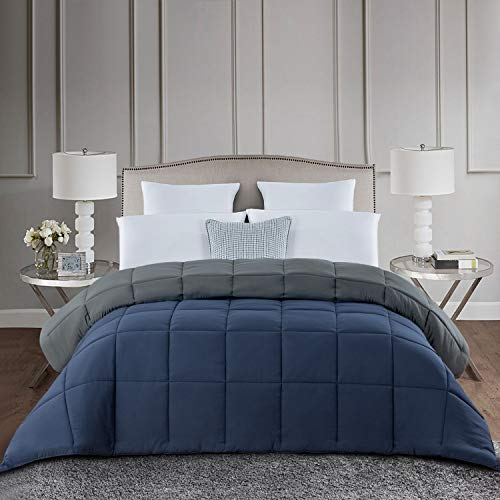 HOMBYS Down Alternative Reversible Comforter Queen Size -All Season Hypoallergenic Tabs Duvet Insert - Machine Washable- Breathable Quilted Bed Comforters with Corner Tabs(Full/Queen,Navy Blue/Grey)