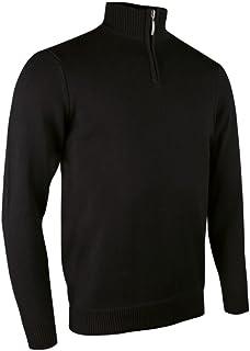 Glenmuir Zip Neck Mens Cotton Golf Sweater - Black or Navy/Sml - 2XL