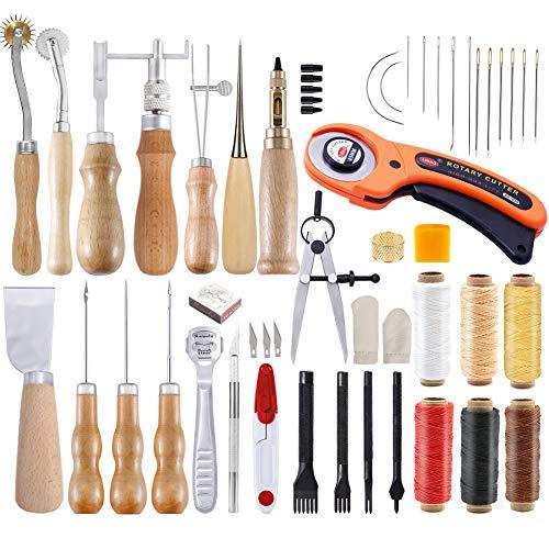 Namner Leder Werkzeug Set, Leder DIY Werkzeug Leder Starter Set mit Anleitung, Leder Handwerk Werkzeug Set mit Groover, Leder Faden, Leder Locher für Leder Nähen Lederverarbeitung