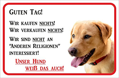 Rainbow-Print Schild - Vorsicht Labrador Retriever Wir kaufen Nichts (GELB/BEIGE) (20x30cm)