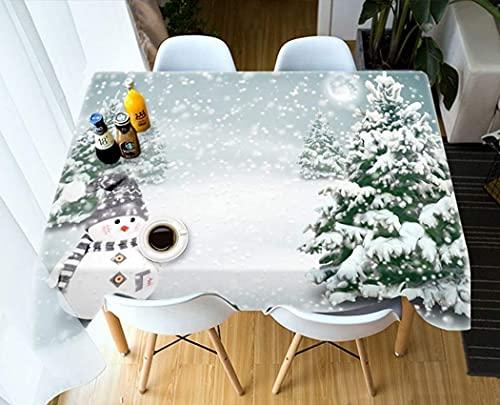 MUZIDP European Christmas 3d Tablecloth, Thick Cotton Rectangular Tablecloth Party Banquet Decoration Cover Cloth