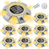 CHINLY Solar Driveway Lights LED Deck Dock Light Step Lighting Waterproof for Outdoor Pathway Garden Ground Yard Walkway Stair Markers 8pcs (Warm White)