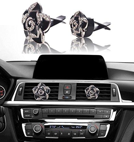 Bling Car Decor Car Air Vent Clip Charms, Black Roses Crystal Interior Car Accessory, Women Fashion Car Decoration Charms, Rhinestone Car Bling Accessories (Black Roses 2pc)