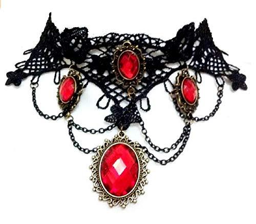 KIRALOVE Collar - Gargantilla - Estilo gótico - Encaje - macramé - Colgantes - pie3 Rojo - Color Negro - bisutería - Mujer - niña