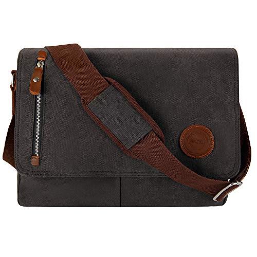 Umhängetasche Herren 15.6 Zoll Arbeitstaschen für Herren Laptoptasche 15.6 Zoll Messenger Bag Herren für A4 Ordner Arbeit Uni mit Laptopfach (Schwarz)