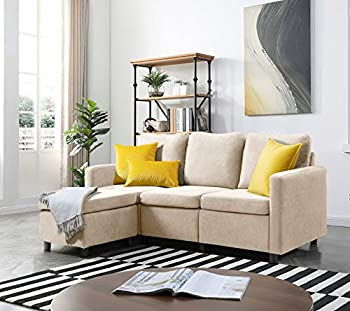 VICTONE Convertible Sectional Sofa Couch Modern L-Shaped Couch with Linen Fabric for Living Room Apartment and Studio Sofa Using  Beige