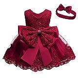 Cichic Vestido de princesa para niña, para bautizo, de encaje, tutú, para niñas, fiestas, bodas, cumpleaños, fiestas, etc. Vestido rojo. 0-3 Meses
