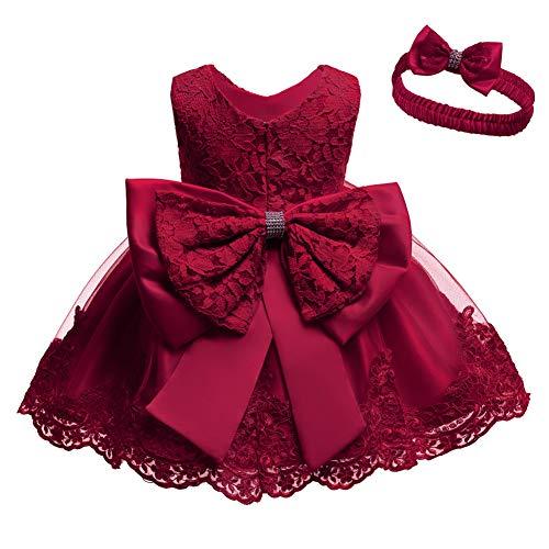 Cichic Baby Mädchen Kleid Taufkleid Spitze Prinzessin Kleid Tutu Kleid Mädchen Festlich Hochzeit Geburtstag Partykleid Blumenmädchenkleid Festzug Babybekleidung (12-18 Monate, Rot Kleid)