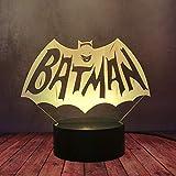 Lampe de bureau LED The Dark Knight avec logo de Batman et ailes de super-héros DC Comic...