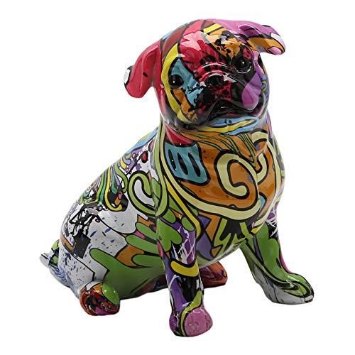 Baoblaze French Bulldog Art Resin Sculpture, Hand Painted Animals Dog Statue Art Work Creative Ornament Figurine Home Bedroom Living Room Study Cabinet Decor - 19x12.5x18.5CM A