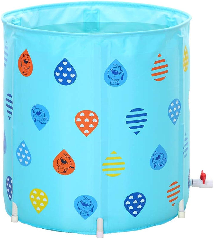 bluee PVC Bracket Bath Barrel Household Thick Folding Soaking Bucket Adult Inflatable Bathtub Bucket