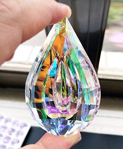 H&D Regenbogen Anhänger Kristall in Tropfenform Prismen 76 mm
