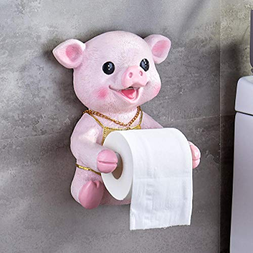 JJFU Toiletpapier toiletpapierrol wc-papier creatief Nordic badkameraccessoires set wc tissue box toiletpapierhouder leuk varken waterdicht rek handdoekhouder