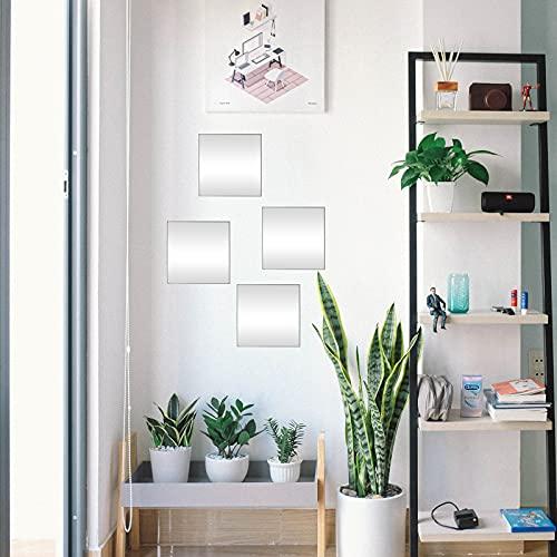 DRULINE 4er Set Klebespiegel Spiegelfliesen Badezimmerspiegel Wandaufkleber Dekoration selbstklebend | L x B x H 20x 20 x 0.2 cm | Silber