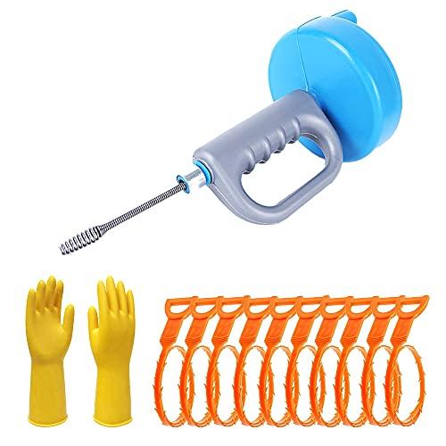 (なないろ館)パイプクリーナー ワイヤー 回転式 10m スティック 10本 排水管 排水口 つまり 掃除 手袋付