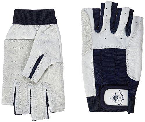 BluePort Erwachsene (Unisex) Segelhandschuhe aus Leder-5 Finger frei S, weiß, S