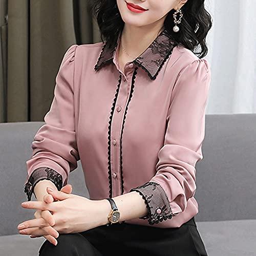 GYZCZX Costura de Encaje Mujeres Tops Elegante Femenino de Manga Larga Casual Blusa de Encaje Tops (Color : Pink, Size : M Code)