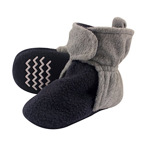 Hudson Baby Baby Cozy Fleece Booties with Non Skid Bottom, Navy/Heather Gray, 18-24 Months