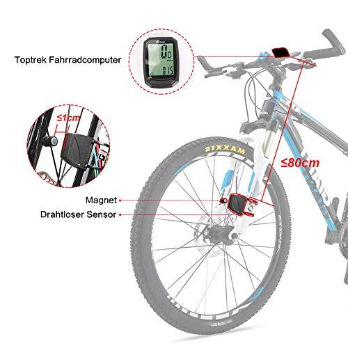 toptrek Fahrradcomputer Kabellos 13 Funktionen Fahrradtacho IPX7 wasserdichte Radcomputer LCD-Hintergrundbeleuchtung Kilometerzähler für Radsport Realtime Speed Track - 2