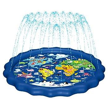 MAGIFIRE Splash Pad,SprinklerforKids&BabyPool3-in-1 WaterToysGiftsfor12345YearOldBoysGirlsToddlerSplashPlayMat  Map