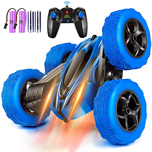 Rcfunkid Remote Control Car, 4WD RC Cars with Double Sided 360 Degrees Tumbling and Rotating, 2.4GHZ RC Stunt Car with LED, RC Car Toys for 8 Year Old Boys Girls