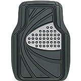 ボンフォーム カーマット デザインラバーマット 軽/普通車 フロント 1枚 防水 丸洗いOK ストッパー対応 48x65cm シルバー 6449-01SI