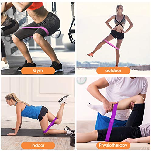 OMORC Resistance Bands, Exercise Loop Bands for Legs and Butt, Yoga, Home Fitness Workout Leg Pilates Bands with Instruction Guide, Carry Bag