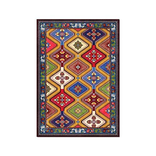 Geometría bohemia Estilo étnico persa amarillo rojo verde azul color sala de estar dormitorio de los niños tapetes alfombra de estudio junto a la cama