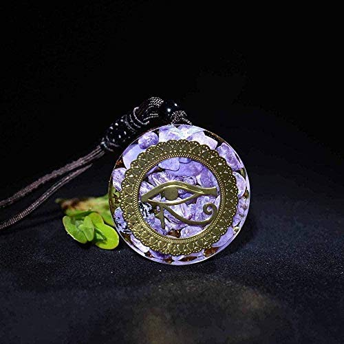 WSBDZYR Co.,ltd Collar de Moda 30Mm Piedra Natural Cuarzo Cristal Blanco Colgante Péndulo Flor de la Vida Colgante 7 Chakra Péndulo Collar Longitud de Cadena 45Cm Collar
