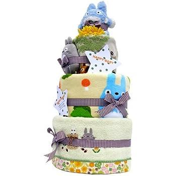 トトロ おむつケーキ おもちゃ タオル 3枚付 豪華 名入れ刺繍 3段 お楽しみおむつけーき バス停ミニタオル パンパースパンツLサイズ となりのトトロ タオル3枚付【出産祝い/内祝い】