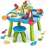 Mesa de arena y agua para niños, 4 en 1, mesa de actividad para jugar en la playa, caja de arena con cubierta para niños pequeños, mesa sensorial, juguetes de playa para niños, mesa de arena