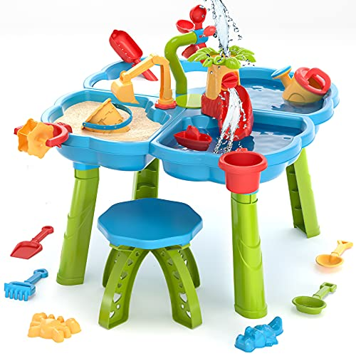 TEMI 4in1 Sand Water Table 32PCS Sandbox Table with Beach Sand Water Toy Kids Activity Sensory Play Table Summer Outdoor Toys for Toddler Boys Girls