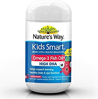 AUA NATURE'S WAY Kids Smart Omega 3 Fish Oil Strawberry Flavour 50 Capsules New Pack