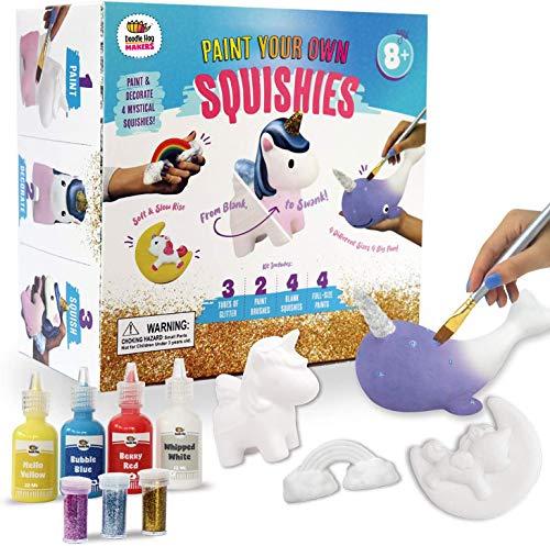 轻拍和点标记独角兽女孩礼物。艺术和工艺画你自己的彩虹和了不起的Squishies DIY工具包!给女孩的礼物最好的圣诞玩具。包括大型缓慢上升的Squishies